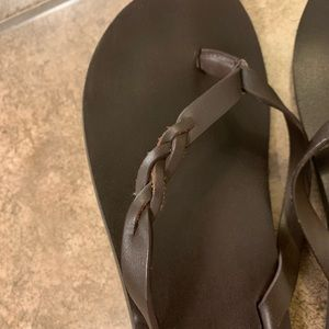 American Eagle Outfitters Shoes - American Eagle leather braided flip flops
